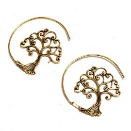 Lebensbaum Baum des Lebens Creolen Messing Ohrringe