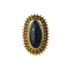 Sonne Ornament Messing Ring Edelstein Lapislazuli