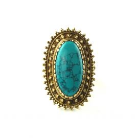 Sonne Ornament Messing Ring Stein Türkis