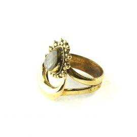 Halbmond Ornament Messing Ring Stein weisser Labradorit