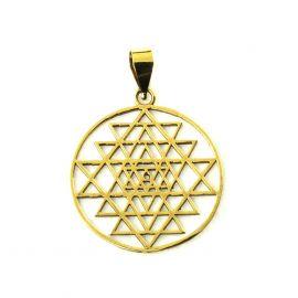 Heilige Geometrie Sri Yantra Messing Ketten-Anhänger