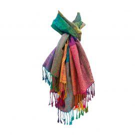 Damen Schal Marokko Pashmina Regenbogen bunt