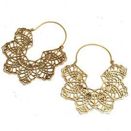 Ornament Blatt Messing Ohrringe Ohrhänger