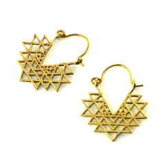 Heilige Geometrie Sri Yantra Messing Ohrringe Ohrhänger