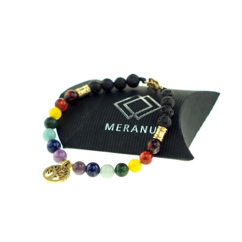Chakra Farben Armband mit Edelsteinen